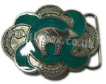 BEAR - NICKEL / TURQUOISE BELT BUCKLE + display stand